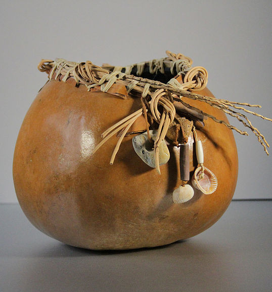 "Of the Earth, Gourd Mixed Medium, 10""Hx10""W, $65"