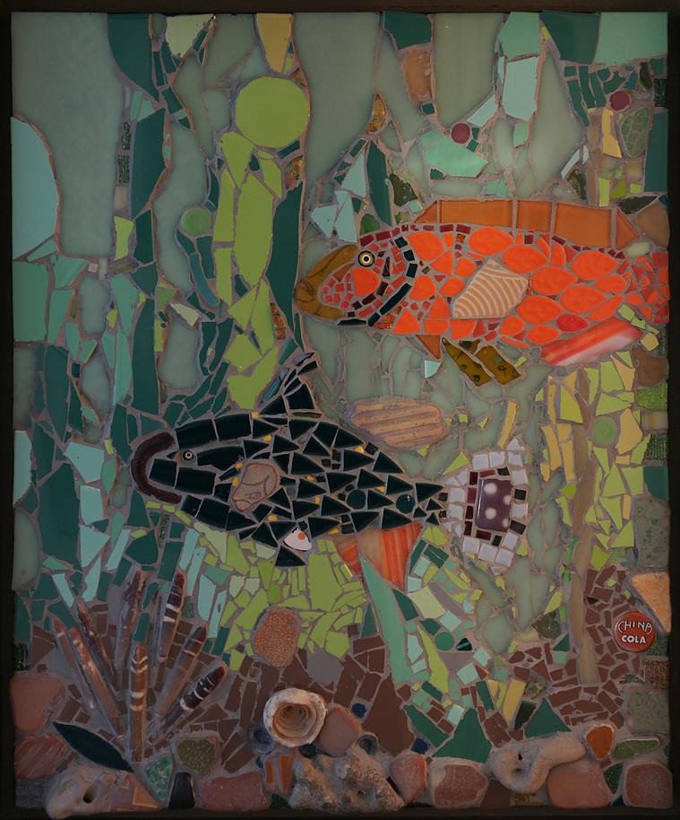 Under the Sea, Mosaic, 22.25Hx18.25W, $795, Framed