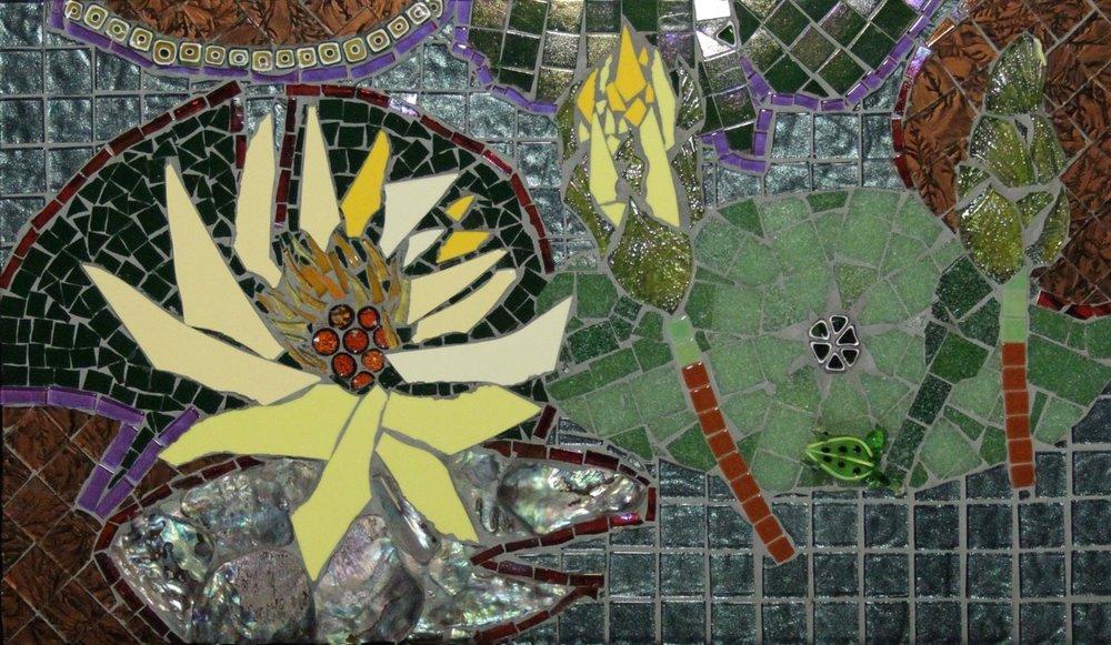 Monet's Lilypads, Mosaic, 12.25Hx19.75W, $695, Framed
