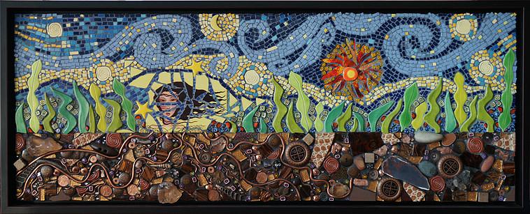 I Am Down To Earth, Mosaic,13.5Hx33.5W, $995, Framed