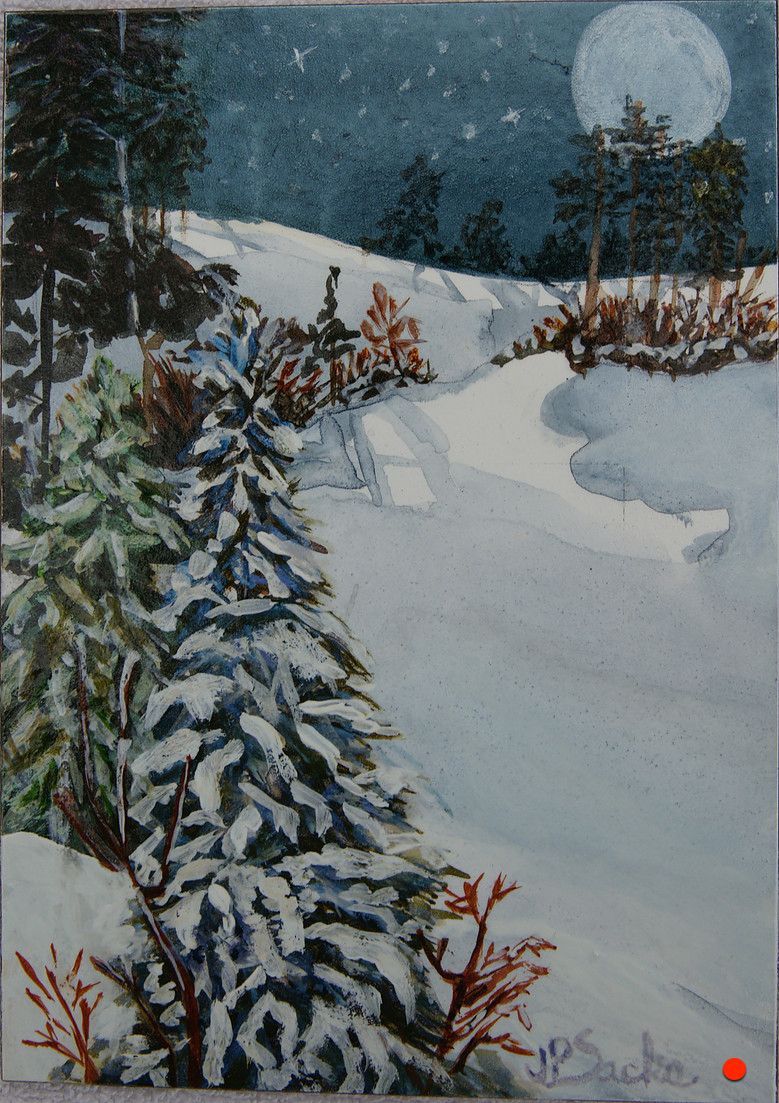 Twilight Snow, Watercolor, 8HX6W, SOLD