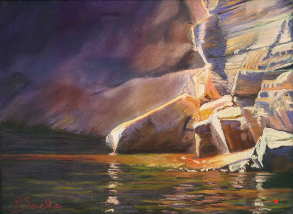 Going Ashore at Lake Powell, Pastel, 11Hx15W, SOLD