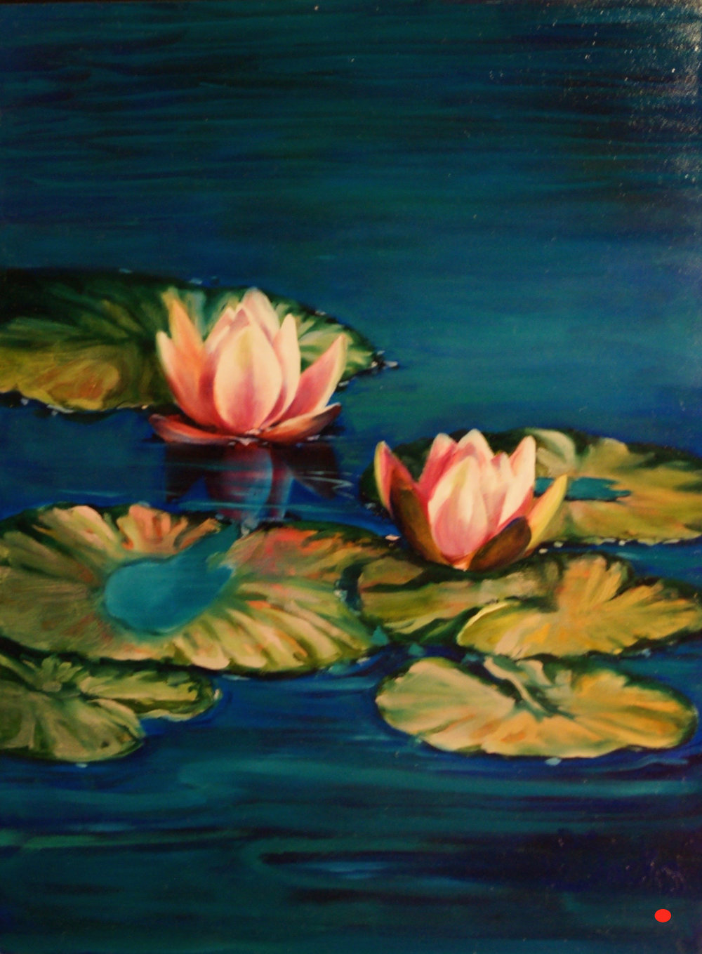 Water Lily Pad Peace, Oil, 30Hx20W, SOLD