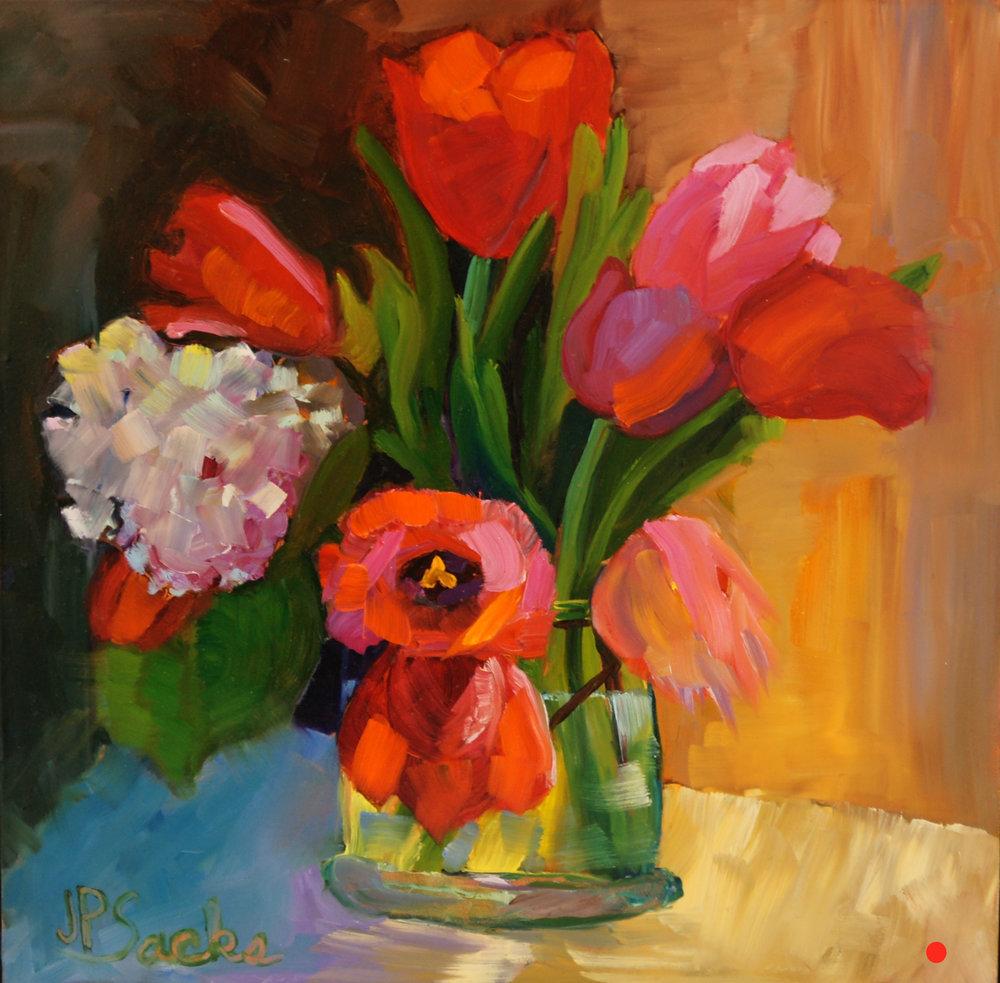 Tulip Spring, Oil, 12Hx12W, SOLD