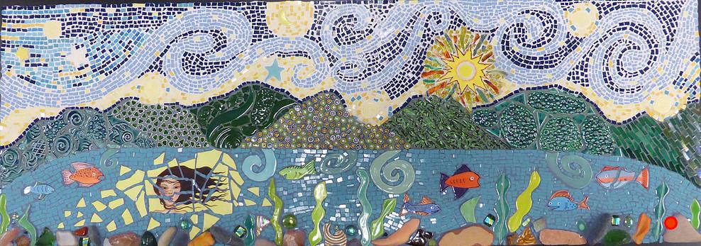 Lady of Grand Lake I, Mosaic, 14Hx34W, SOLD