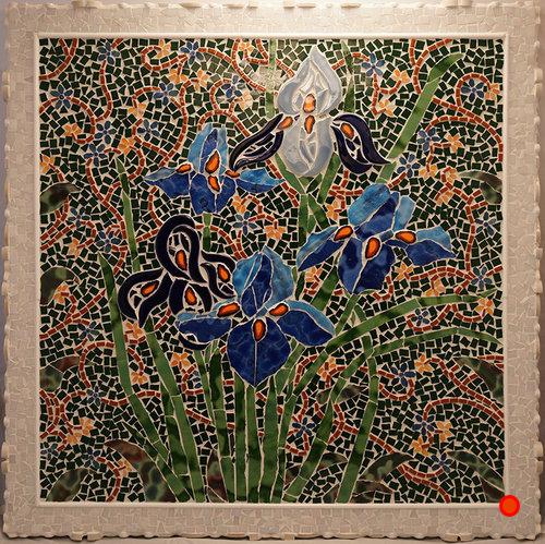 Spring Irises, Mosaic, 20x20, SOLD