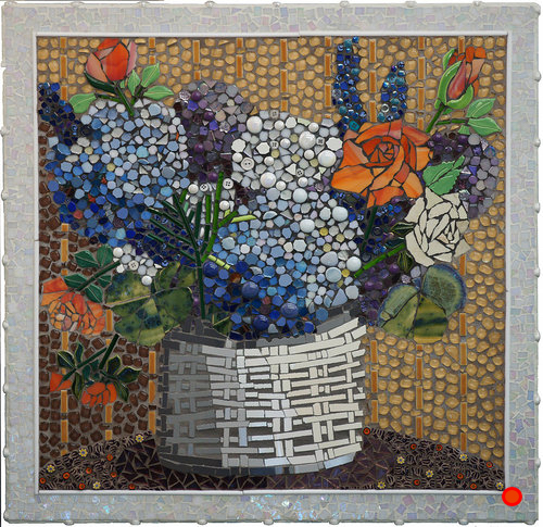 Hydrangeas in Basket, Mosaic, 20x20, SOLD