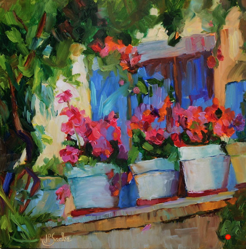 Flowers in My Window, Oil, 12Hx12W, SOLD