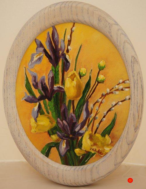 Early Iris, Oil, 9.5Hx7.5W, SOLD