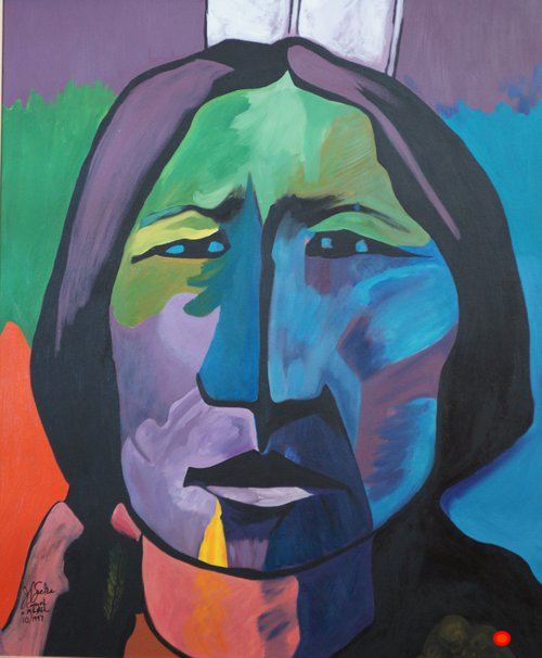 Indian I after John Nieto, Oil, 60Hx48W, DONATED