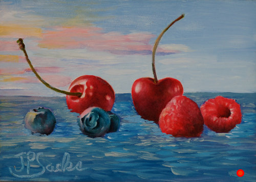 Fruit Floats I, Oil, 5Hx7W, SOLD