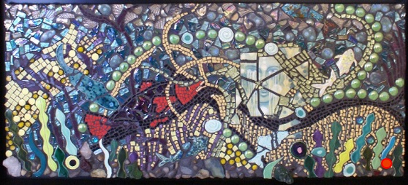 Lower Dyptych: Lady of Grand Lake II, Mosaic, 18Hx34W, SOLD