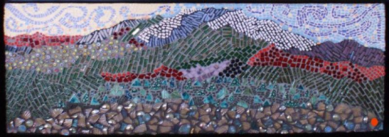 Upper Dyptych: Mountain Glory, Mosaic, 14Hx34W, SOLD