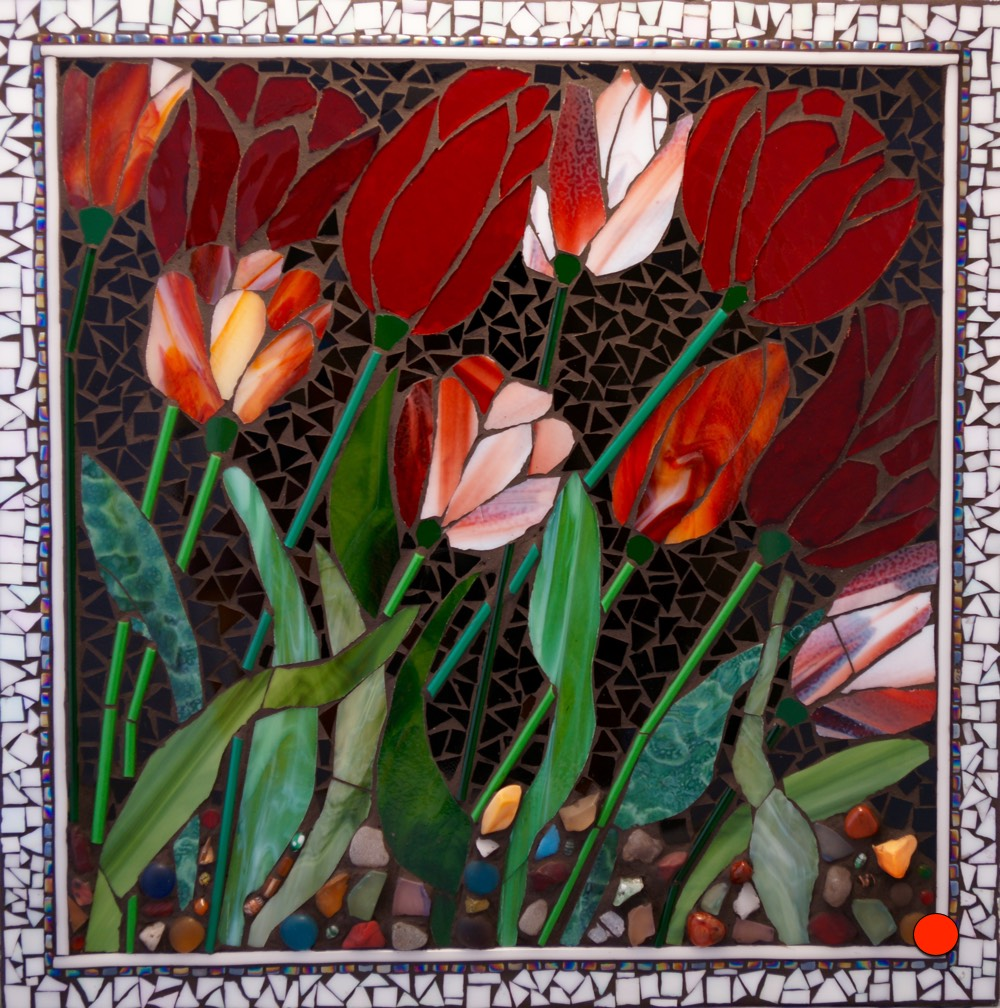 Red Blooms, Mosaic, 20Hx20W, SOLD