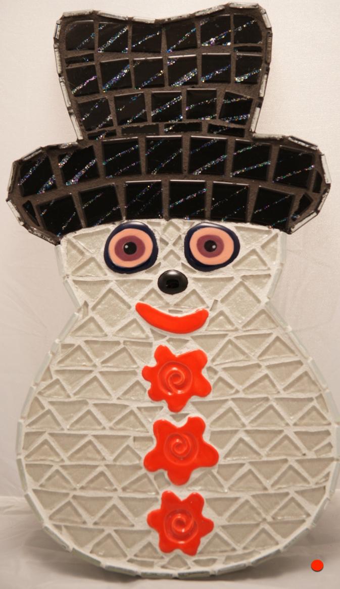 Buggy Eyed Snowman, Mosaic, 10Hx8W, SOLD