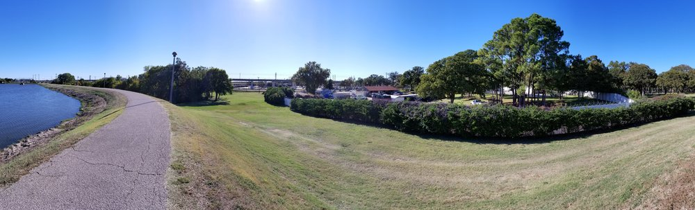 Panorama from the lake side of the likely location for the upcoming Dallas Skate Park