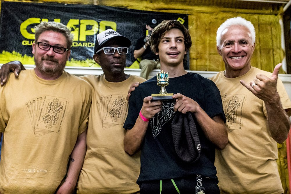 Marshall with the Guapo team accepting his #KingofGuapo trophy. Photo courtesy  Guapo Skateboards