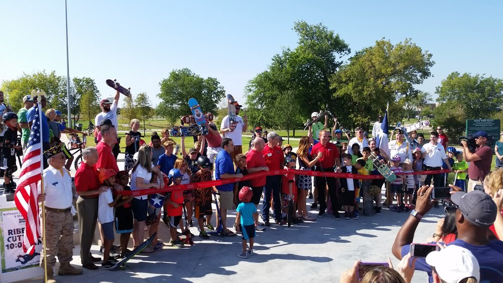 Hundreds celebrate Frisco's skatepark in August 2017.