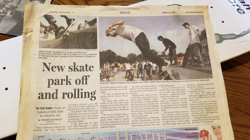 Elijah (black t-shirt) at Lakeland Hills (St. Francis) Skatepark's Grand Opening in 2007.Dallas Morning News