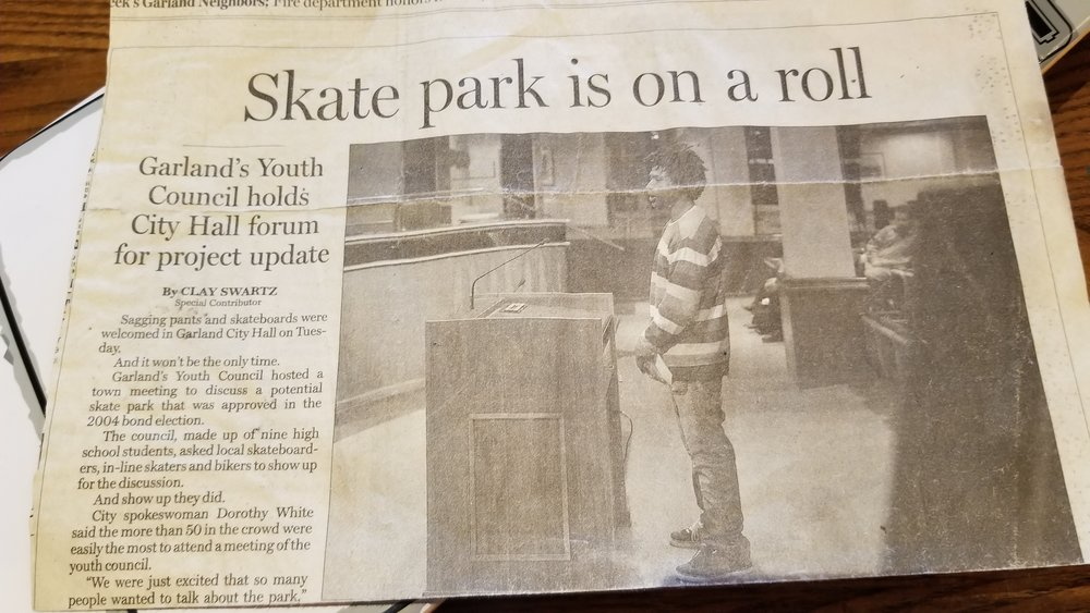 Elijah visited Garland City Hall to advocate for a skatepark, also in 2007. This skatepark was funded in a 2004 bond election but remains in the planning phases. Click the photo for a story about Garland's skatepark