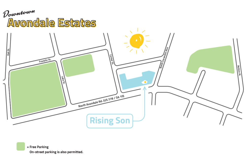 Parking map for Rising Son in Avondale Estates.