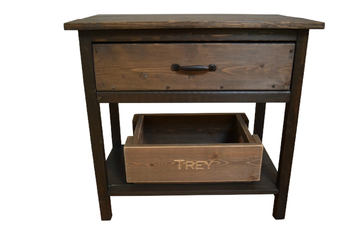 Oliver, Bedside Table, Asheville Crate Company, Big Daddy, Asheville Crate Company, custom engraved crates, vintage crates, farmhouse crates, storage crates, Sweet Trey