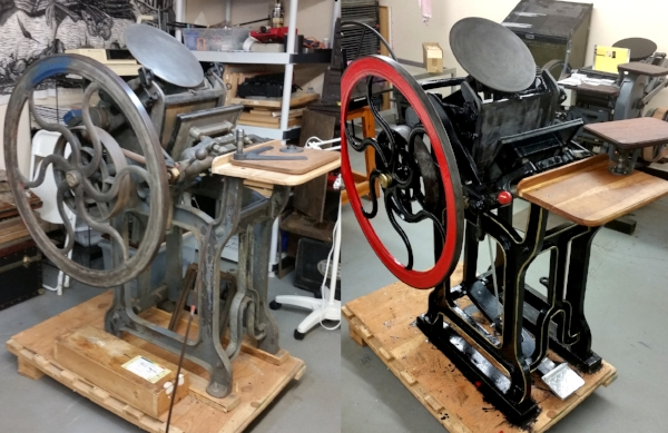 Lightning Jobber press, before and after