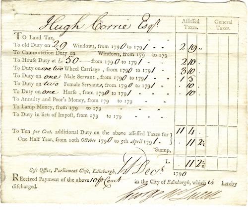 Tax Receipt. 1790.Princeton University Library Rare Book Division. General Ephemera Collection.