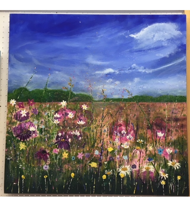 Daisy Meadow- acrylic on canvas