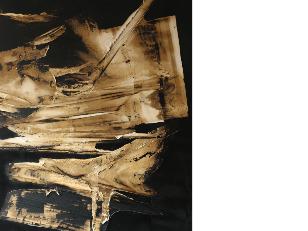 The Basis of the Dream , 2015  oil and tar on canvas  84 x 66 inches