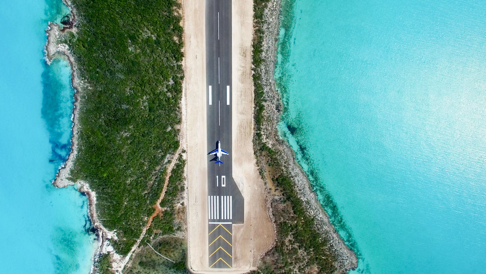 Hog Cay Blue Island Exclusive Private Island Mile long Runway Business Jets Global G4 Exuma Drone Photo