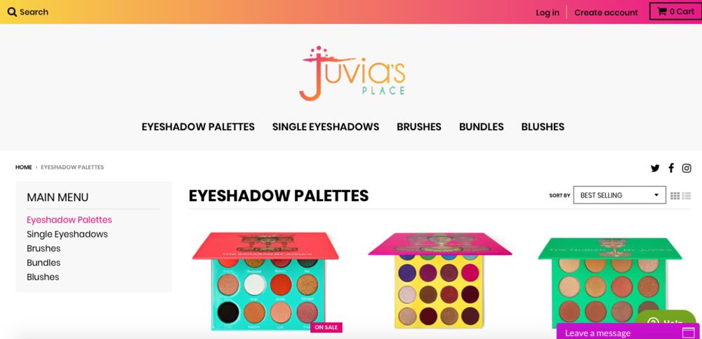 Juvia's Place   A makeup brand that sells single eyeshadows and palettes