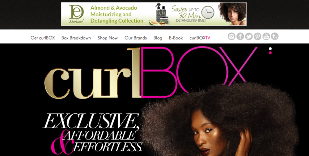 curlBOX   Subscription box service that provides quality sample hair products