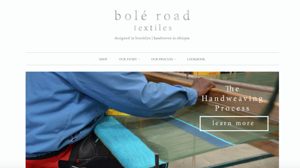 "Bolé Road Textiles   ""Ethically sourced and lovingly crafted"" products like curtains, pillows, and rugs designed in Brooklyn and handwoven in Ethiopia."