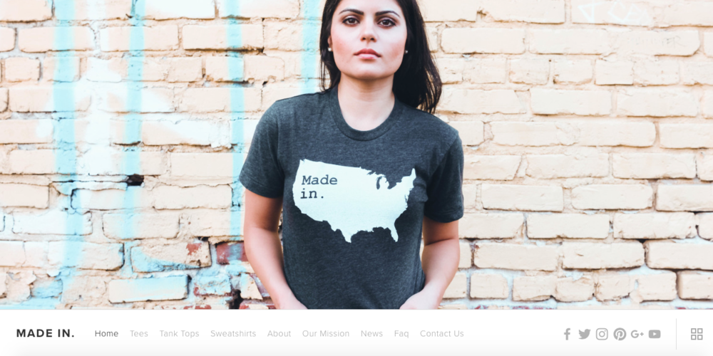 Made in.    Quality apparel that lets folks represent where they are from. All profits go to the company's philanthropic causes