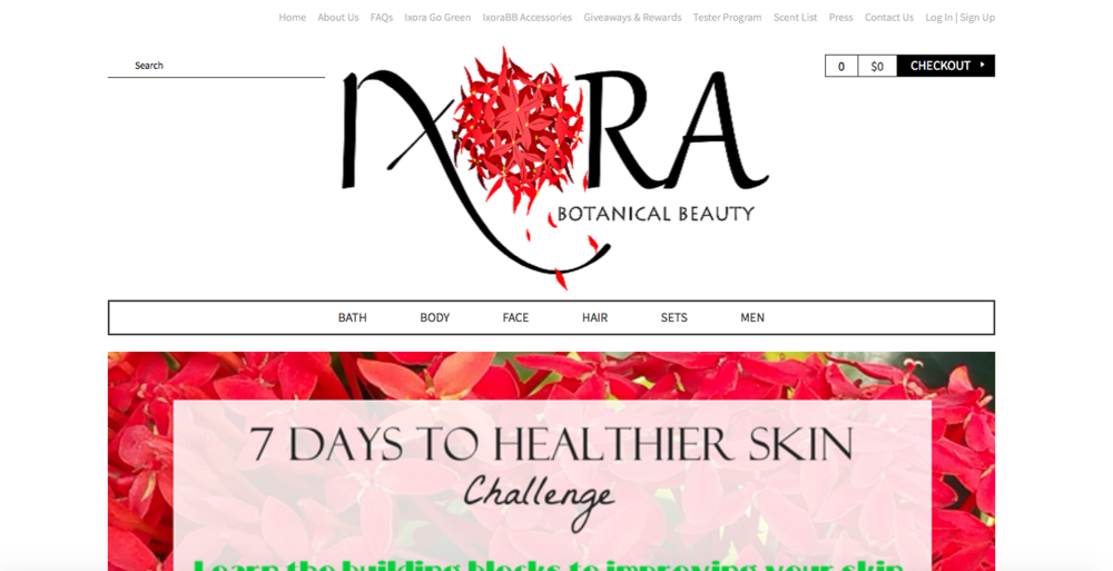 Ixora Botanical Beauty   A natural skin and hair care line developed by Mercedes Edney.