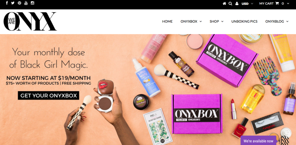 ONYX   Subscription box with curated hair and beauty products. They also sale individual products on their site