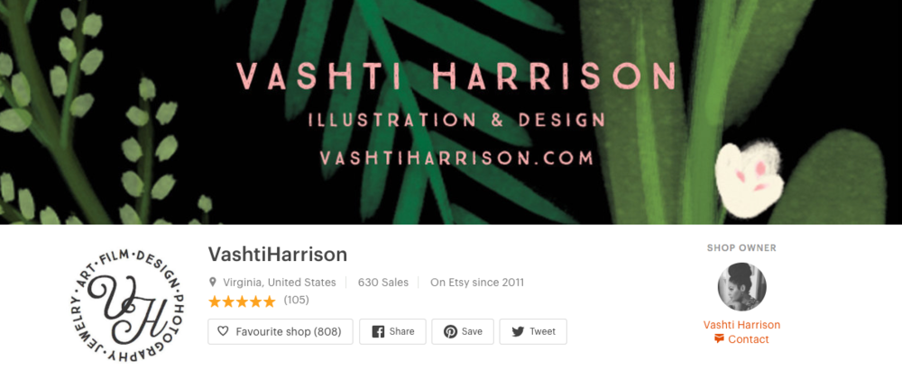 Vashti Harrison   Vashti is an author, illustrator and filmmaker who sells products like mugs and stickers with her own illustrations