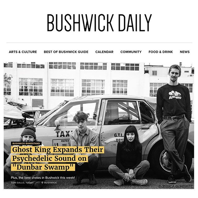 """...Throughout Dunbar Swamp, Ghost King's innovative sound is on display, as they remain grounded in their garage rock roots, but extend their wingspan into new and exciting territory."" ......................................................................................... Thank you Tom Gallo (@lookatmyrecords_) and @bushwickdaily for the kind words on our newest release 🙏 Come join us at the album release show tomorrow at @trans.pecos, there are still some tickets available. Vinyl is on sale at 12pm EST tomorrow via our store, link in bio!"