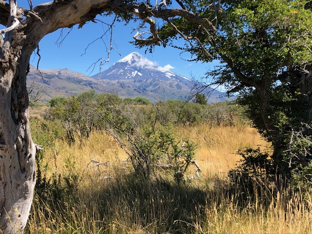 Lanin volcano is visibly from many places along the river.