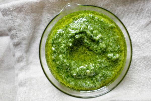 Photo from NYT Basil Pesto recipe