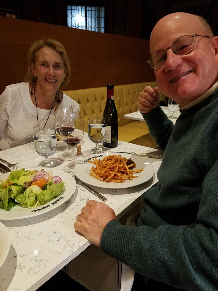 Joanna's mom and dad at Chez Hugo downtown, where you can find our produce and others given an absolutely royal treatment.