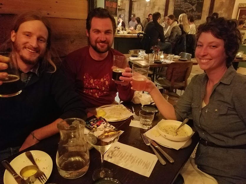 """Bryan with our friends Christy and Connor at Dylan's Oyster Cellar's """"Beer for Farmers"""" event last Sunday"""