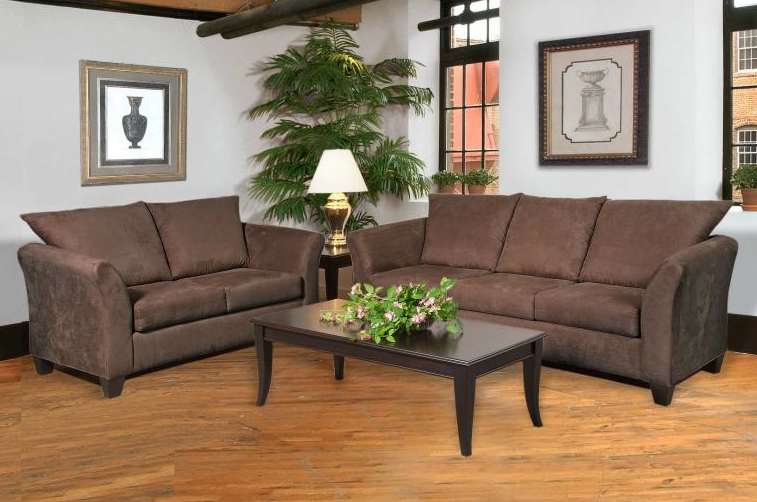 Chocolate Lucas Microsuede Sofa U0026 Loveseat Set