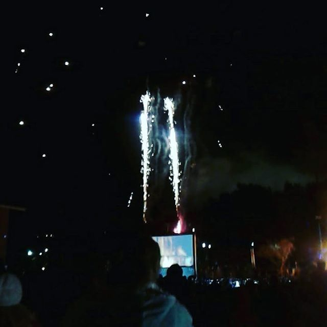 #fireworks at #lismorelanternparade (swipe through to see a continuous shot) #lismore #cometotheheart #lantern #wintersolstice #winter #cold #pretty and #loud #photo