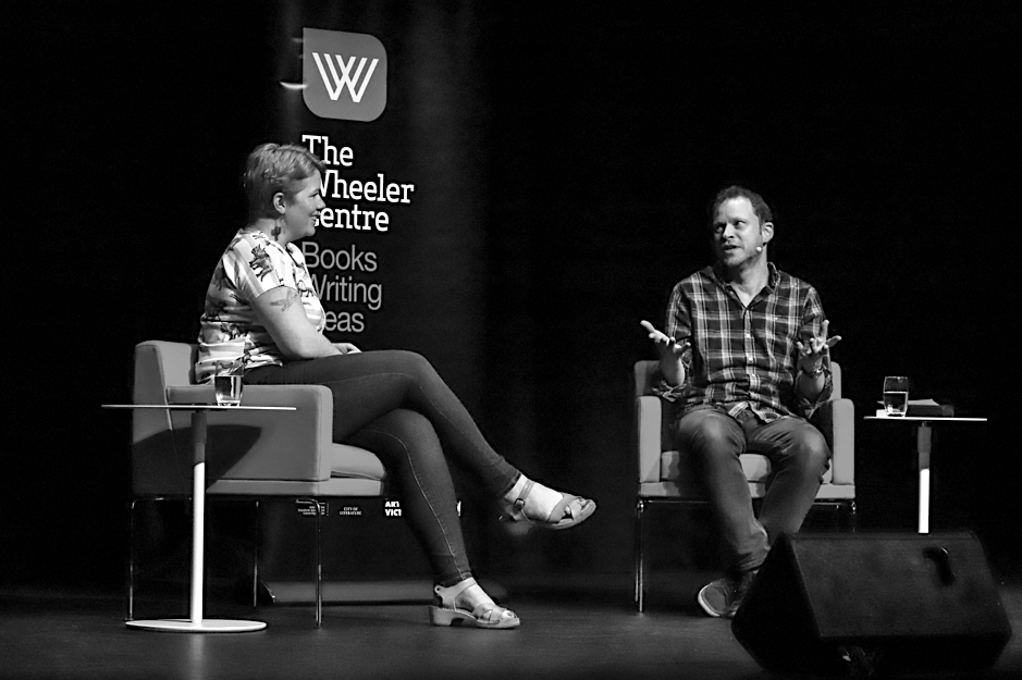 Clementine Ford and Robert Webb at the Wheeler Centre's event at the Athenaeum Theatre.