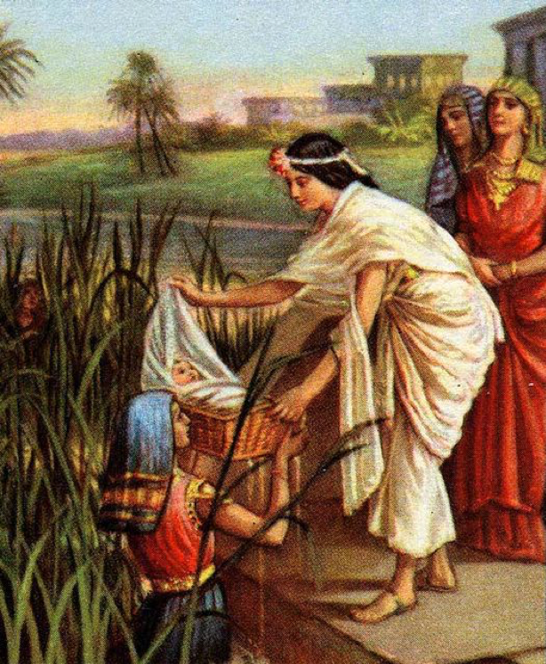 Finding of Moses, bible illustration. 1926. Image from  Wikipedia Common s and used with permissions.