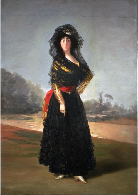 The Duchess of Alba by Goya.   This painting is displayed at the Hispanic Society of America; the image has been sourced from the museum's  website .