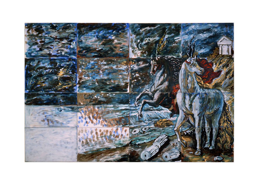 Imants Tillers   The Dichotomy , 1984  synthetic polymer paint on 16 canvasboards, nos. 4028 - 4043 101.6 x 152.2 cm Collection of the artist
