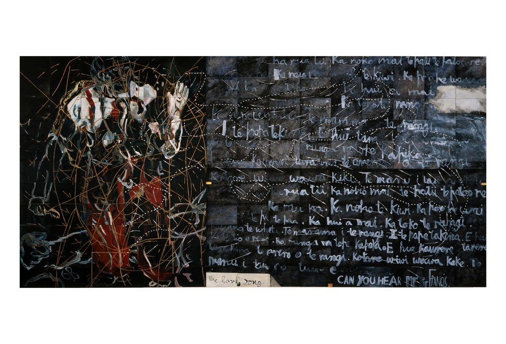 Imants Tillers   Poem of Ecstasy , 1988  oilstick, gouache, synthetic polymer paint on 165 canvasboards, nos. 17932 - 18096 279.4 x 571.5 cm Private Collection, Australia